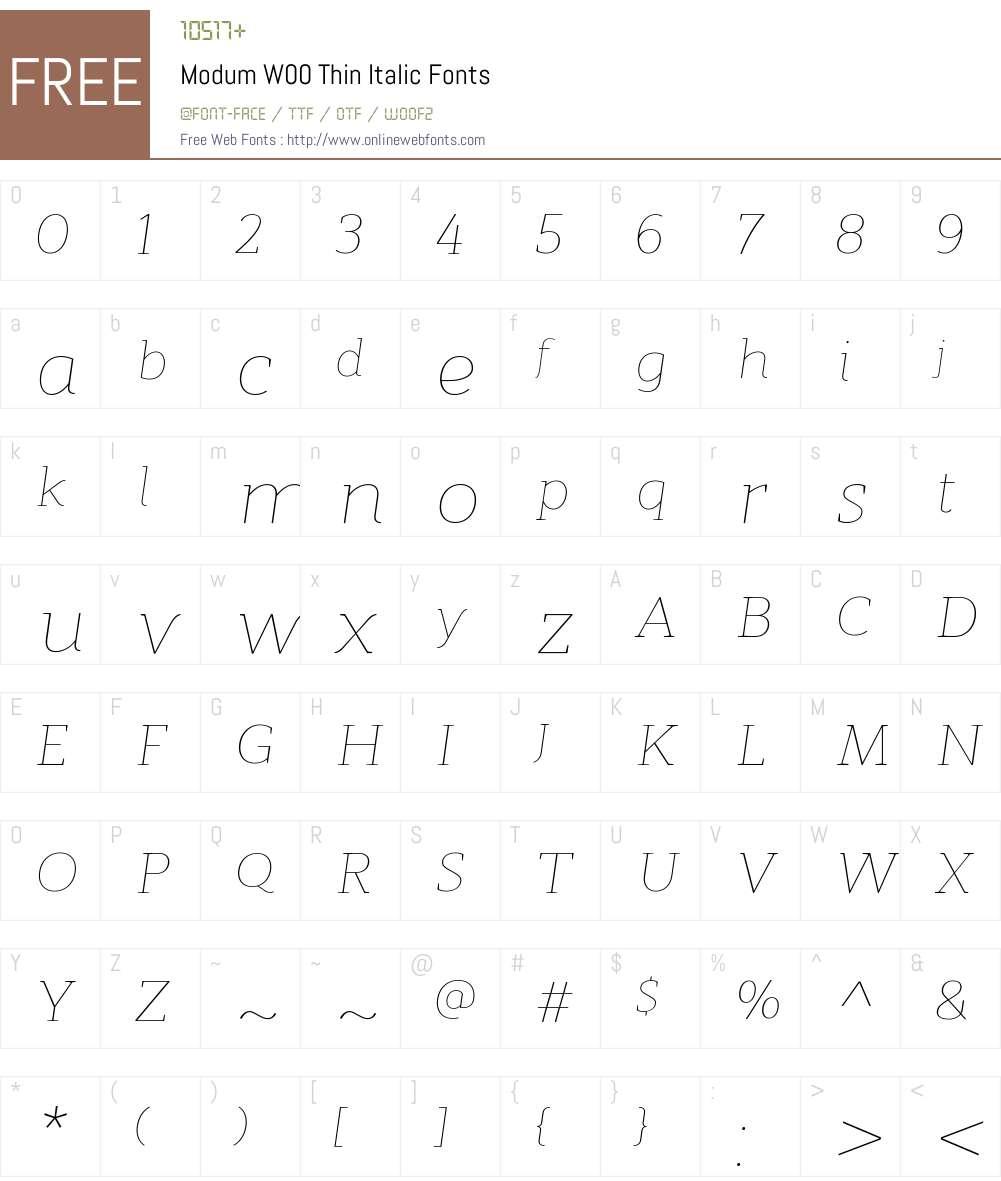 ModumW00-ThinItalic Font Screenshots