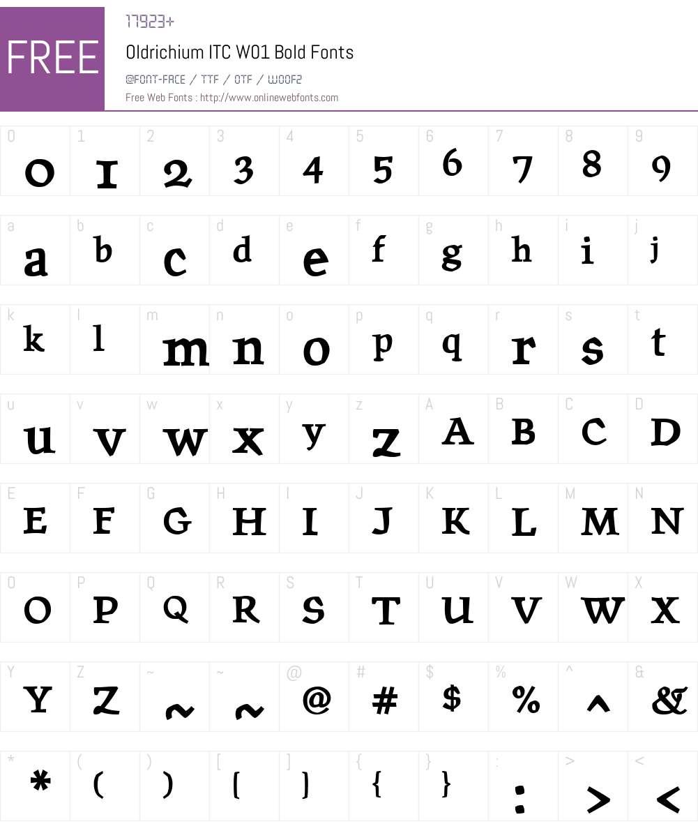 OldrichiumITCW01-Bold Font Screenshots