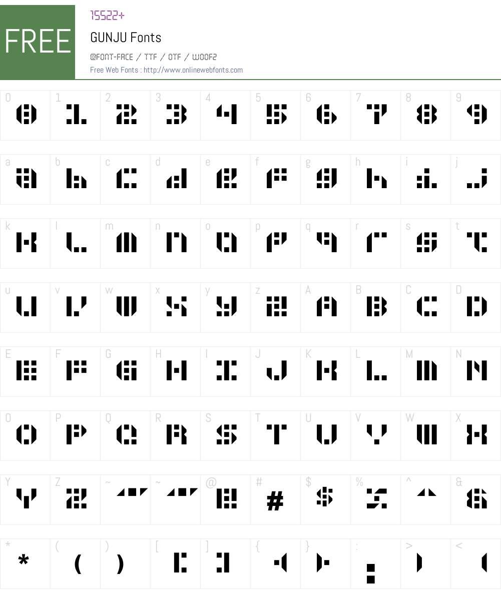 GUNJU Font Screenshots