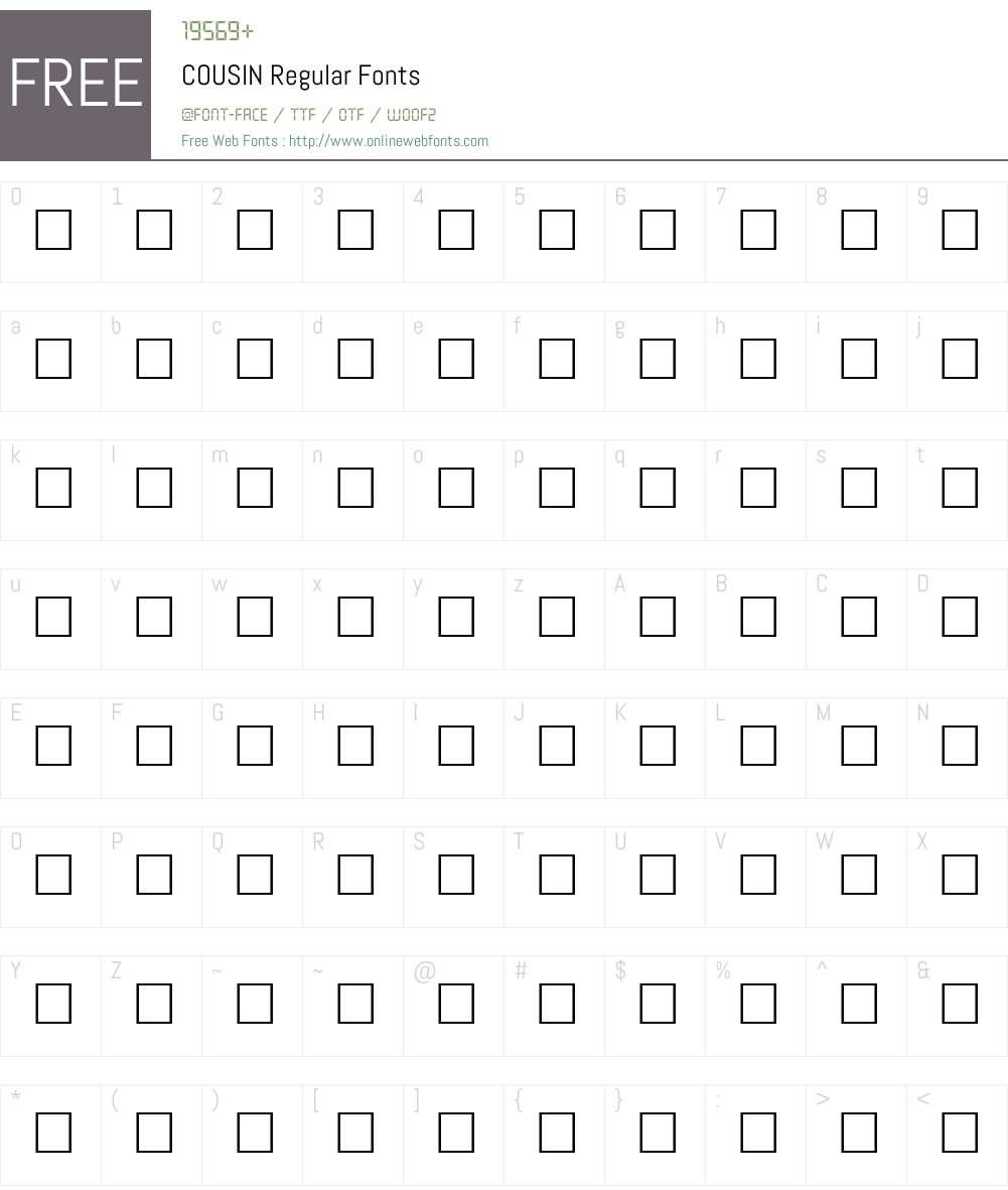 COUSIN Font Screenshots