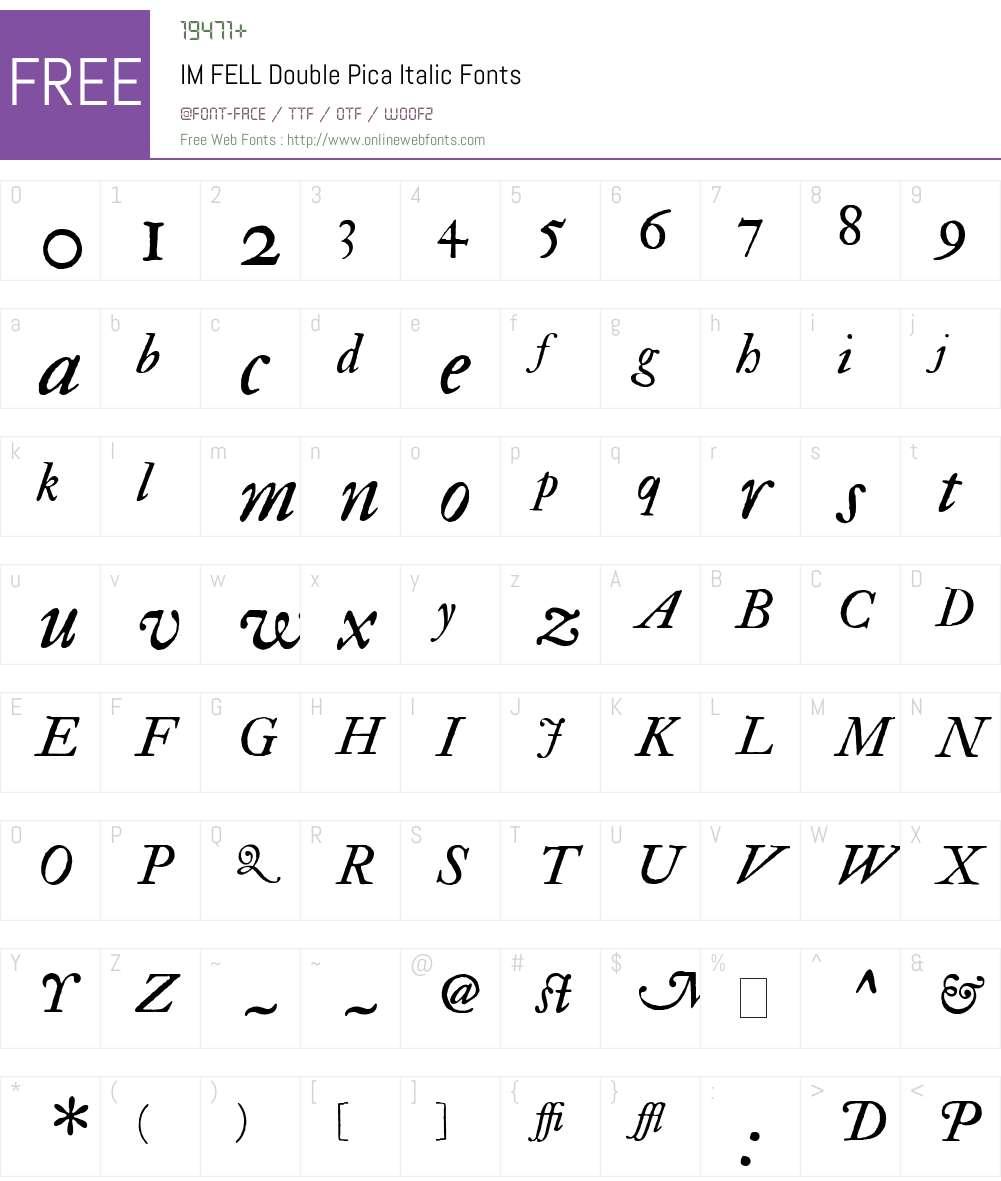 IM FELL Double Pica Font Screenshots
