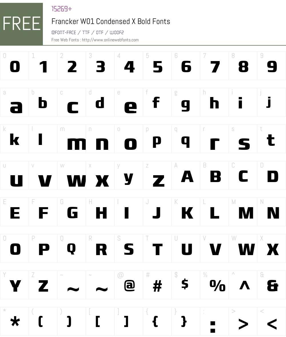 FranckerW01-CondensedXBold Font Screenshots