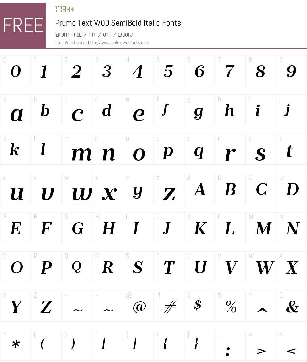 PrumoTextW00-SemiBoldItalic Font Screenshots