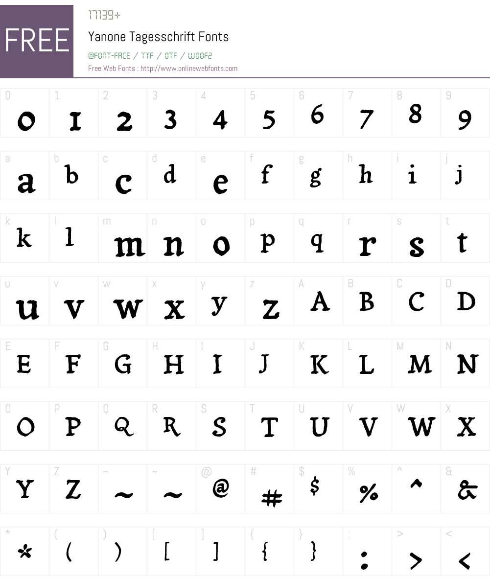Yanone Tagesschrift Font Screenshots