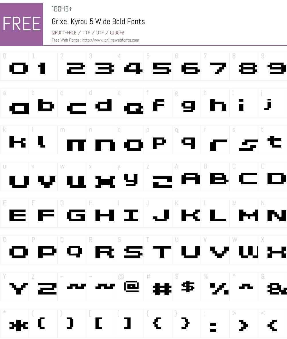 Grixel Kyrou 5 Wide Bold Font Screenshots