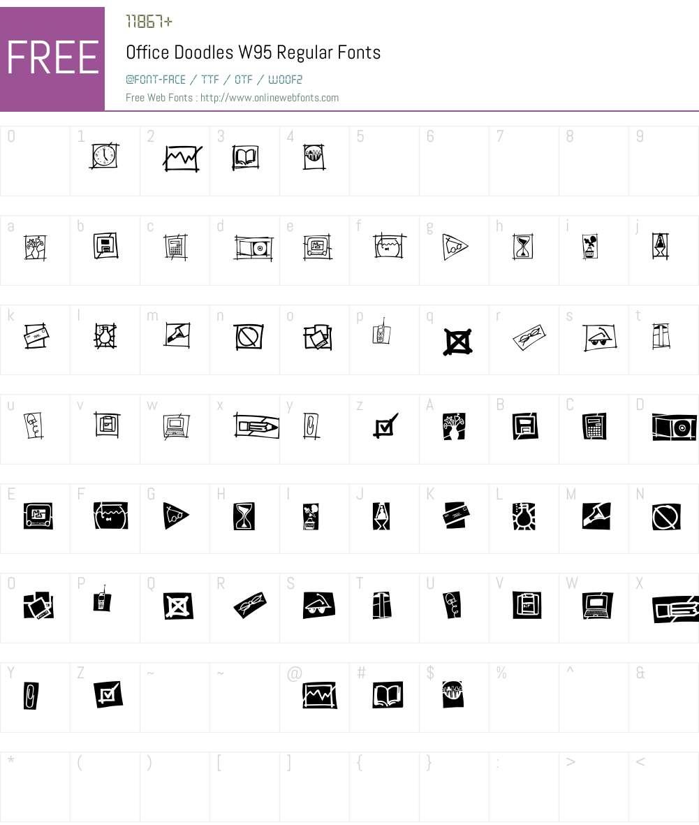 OfficeDoodlesW95-Regular Font Screenshots