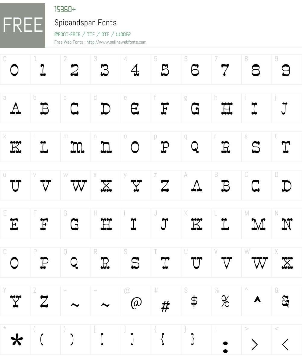 Spicandspan Font Screenshots