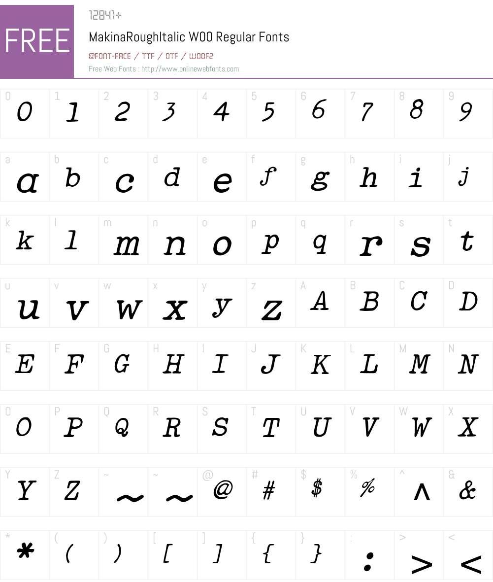 MakinaRoughItalicW00-Rg Font Screenshots