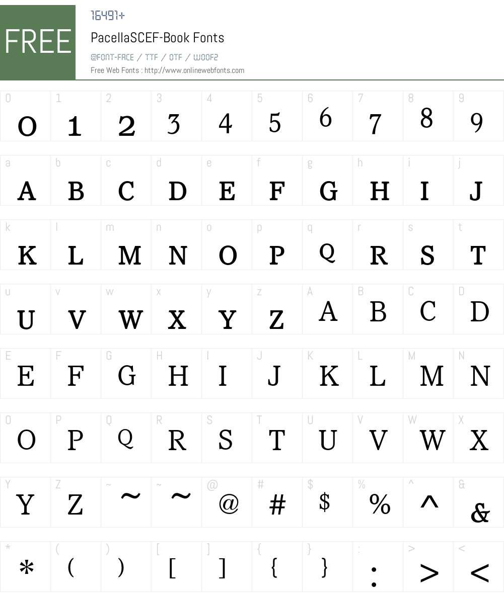 PacellaSCEF-Book Font Screenshots