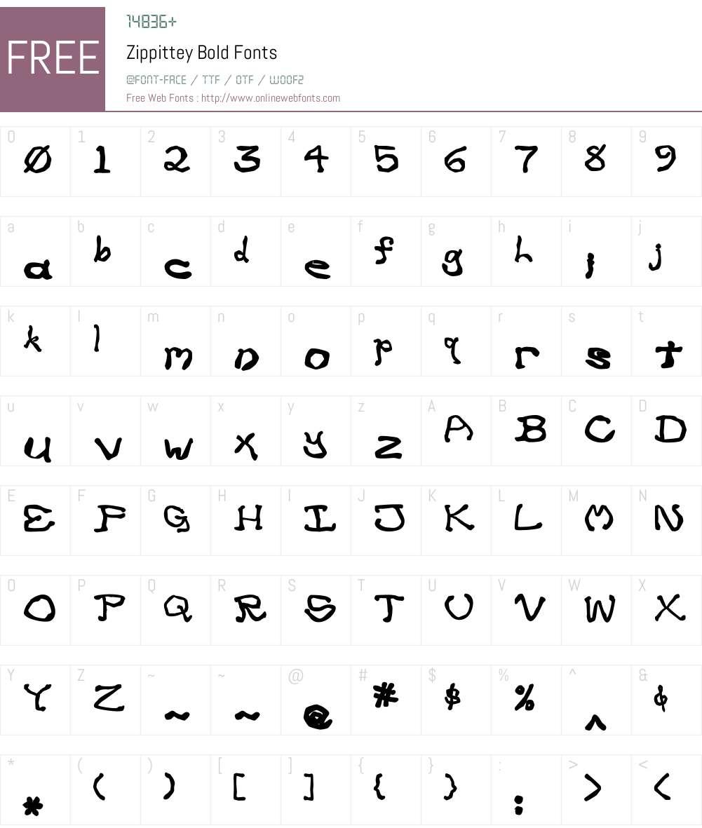 Zippittey Font Screenshots