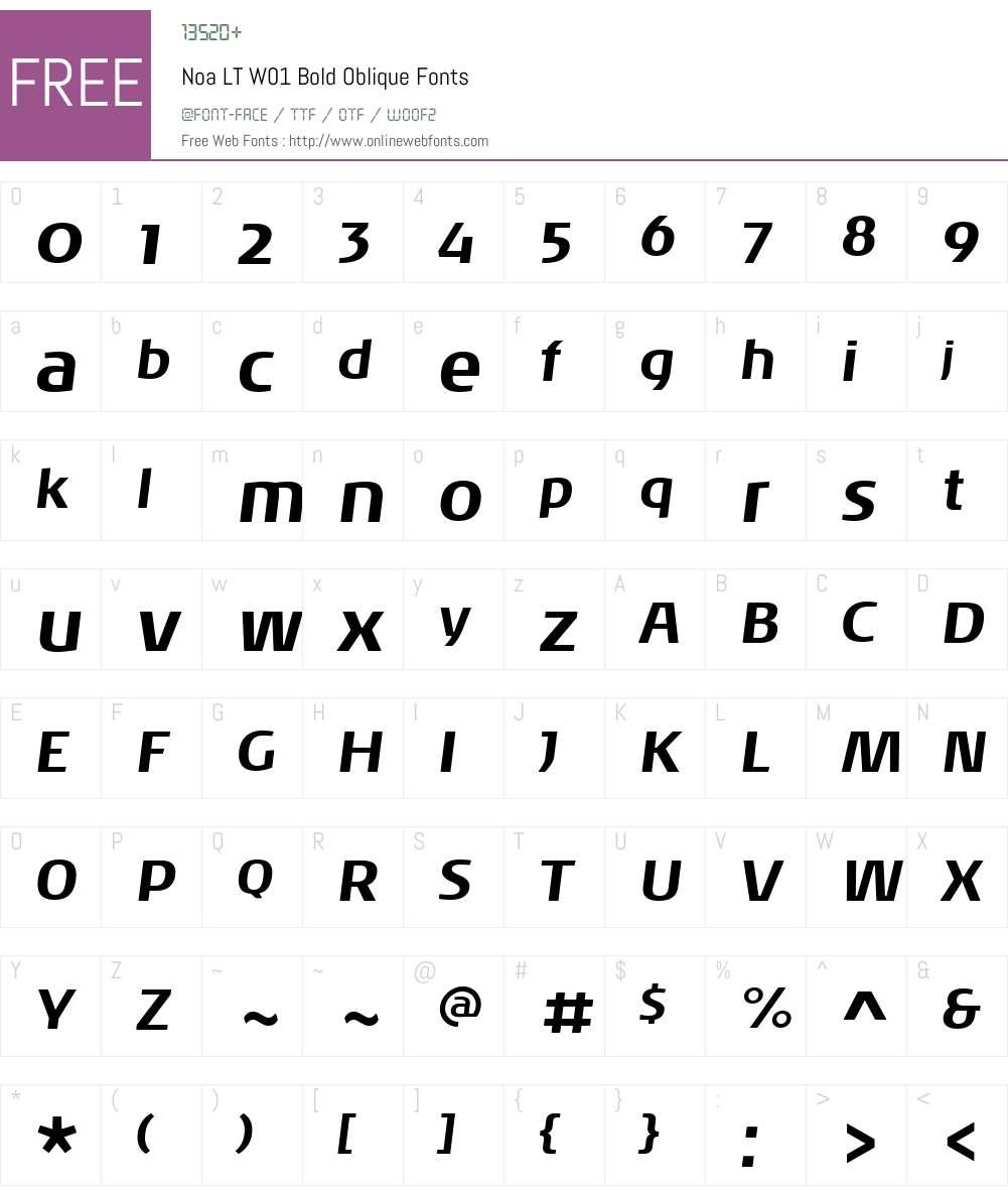 NoaLTW01-BoldOblique Font Screenshots