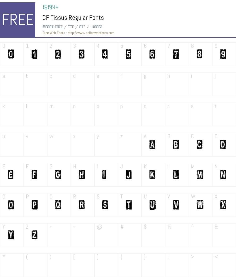 CF Tissus Font Screenshots
