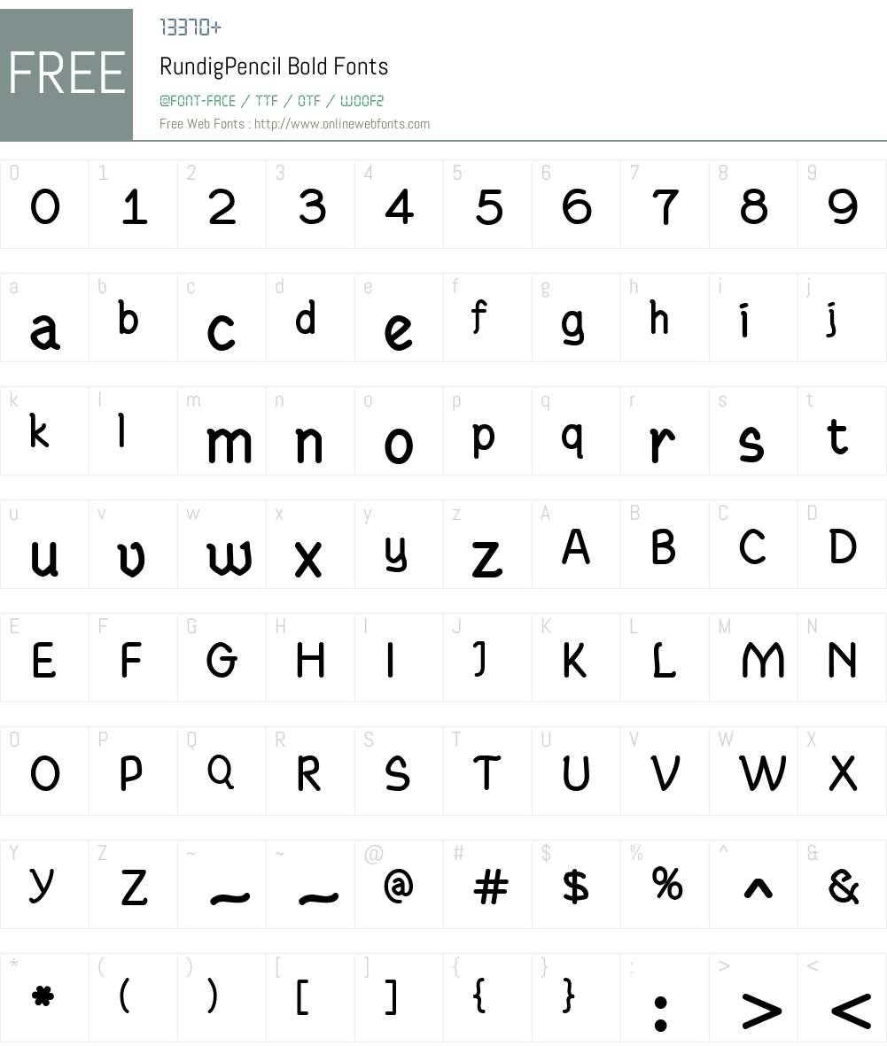 RundigPencil Font Screenshots