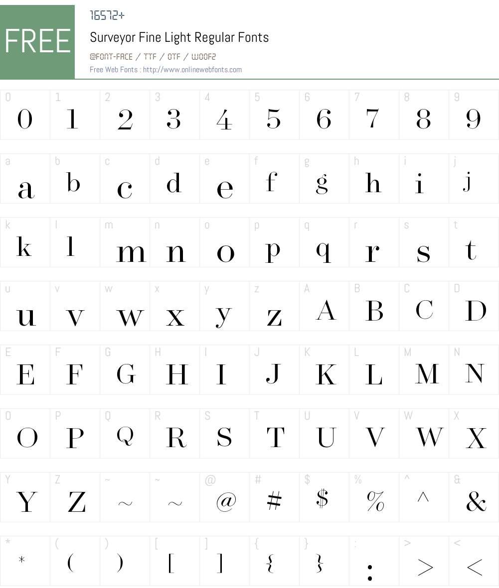 Surveyor Fine Light Font Screenshots