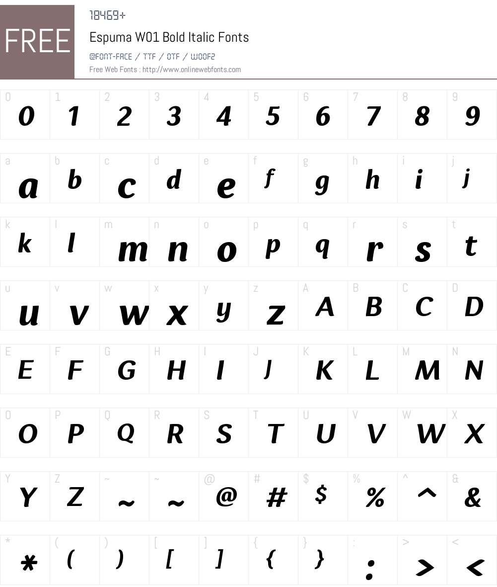 EspumaW01-BoldItalic Font Screenshots