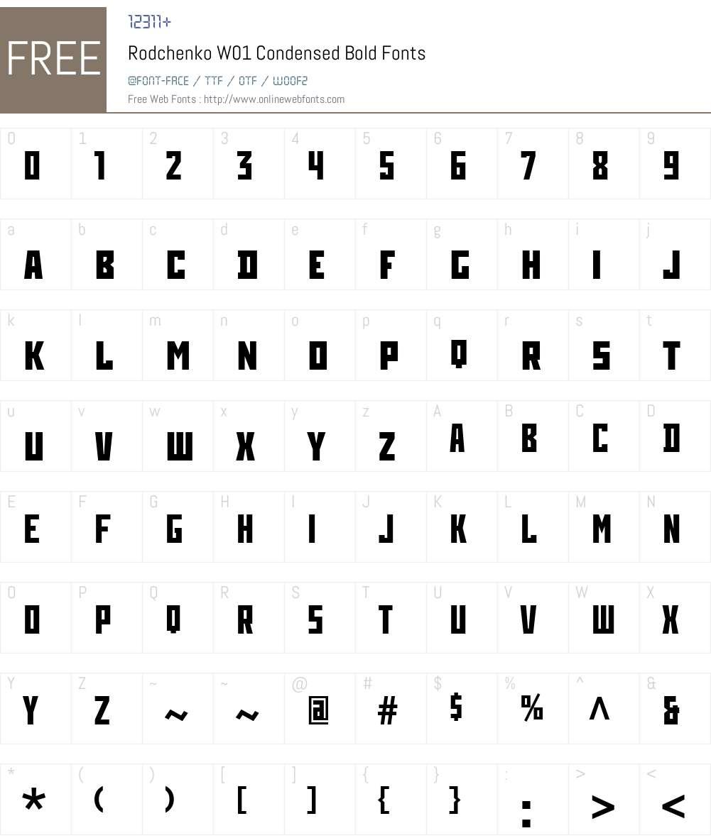 RodchenkoW01-CondensedBold Font Screenshots