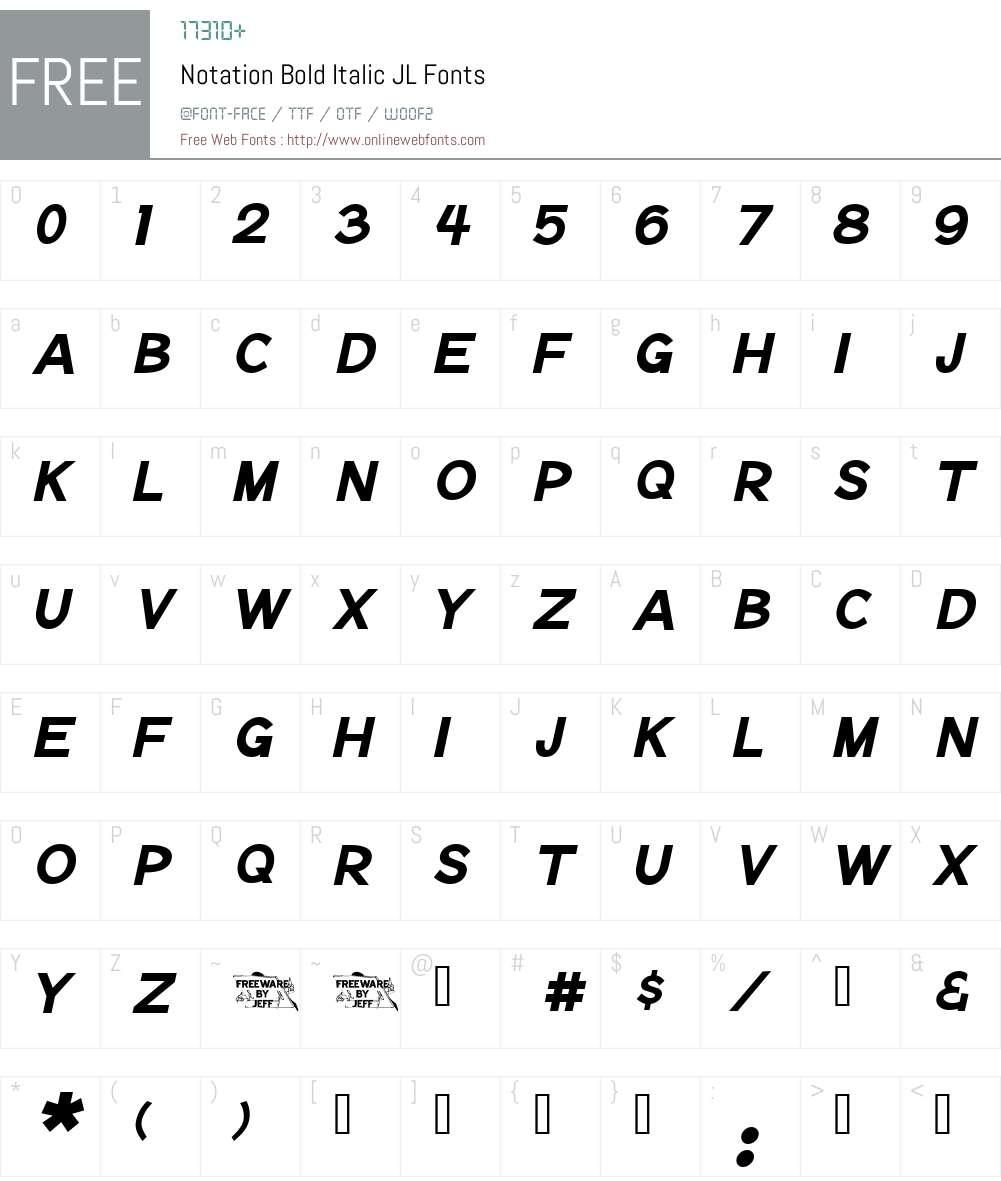Notation Bold Italic JL Font Screenshots