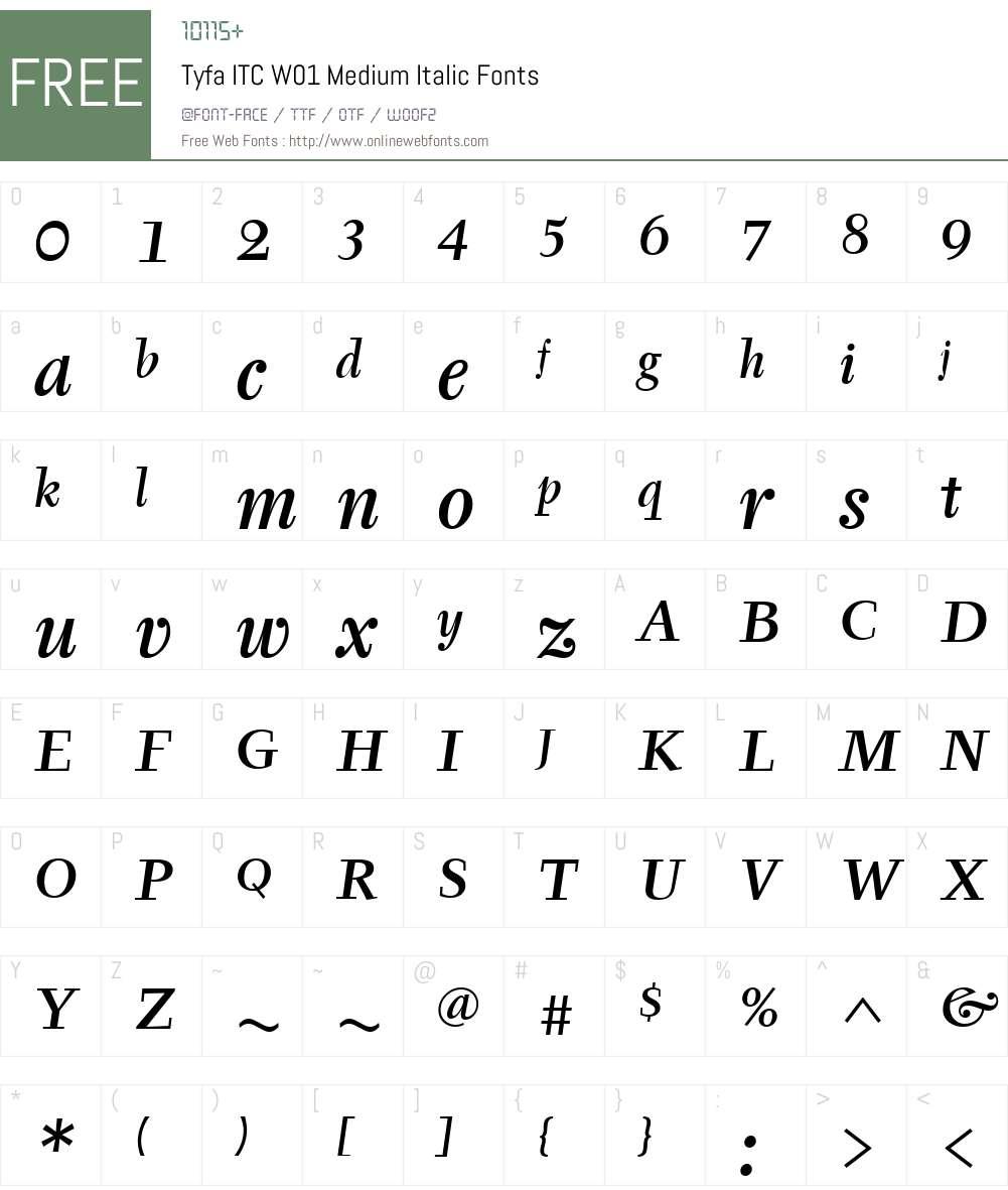 TyfaITCW01-MediumItalic Font Screenshots