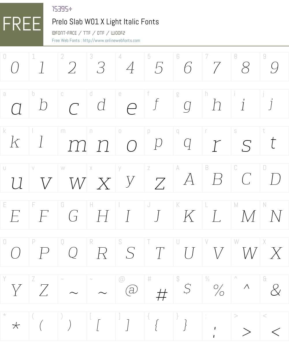 PreloSlabW01-XLightItalic Font Screenshots