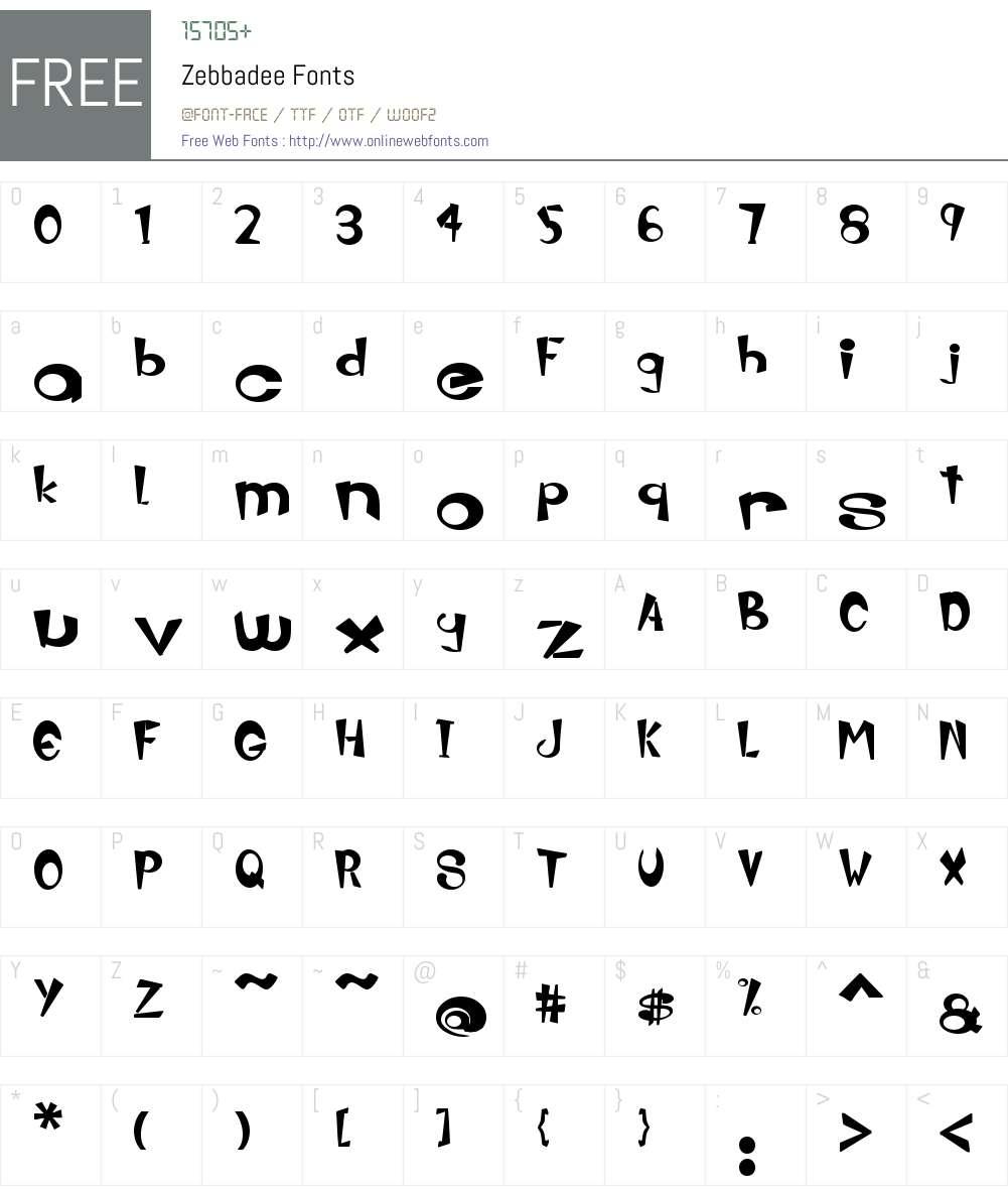 Zebbadee Font Screenshots