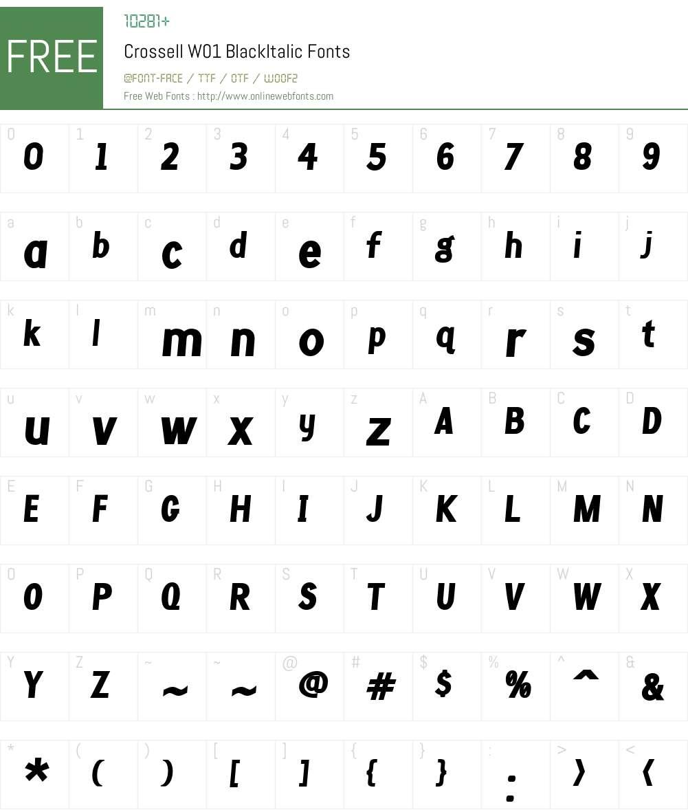 CrossellW01-BlackItalic Font Screenshots