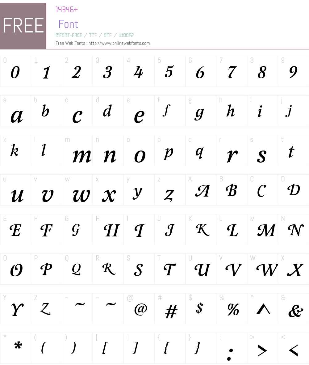 LatienneW01-SwashMediumIt Font Screenshots