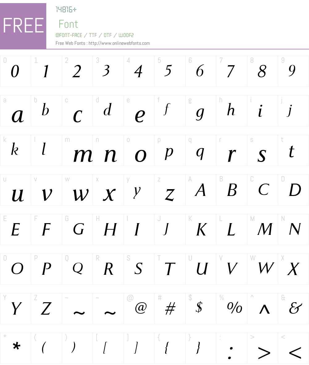 PompeiNewW00-LightItalic Font Screenshots