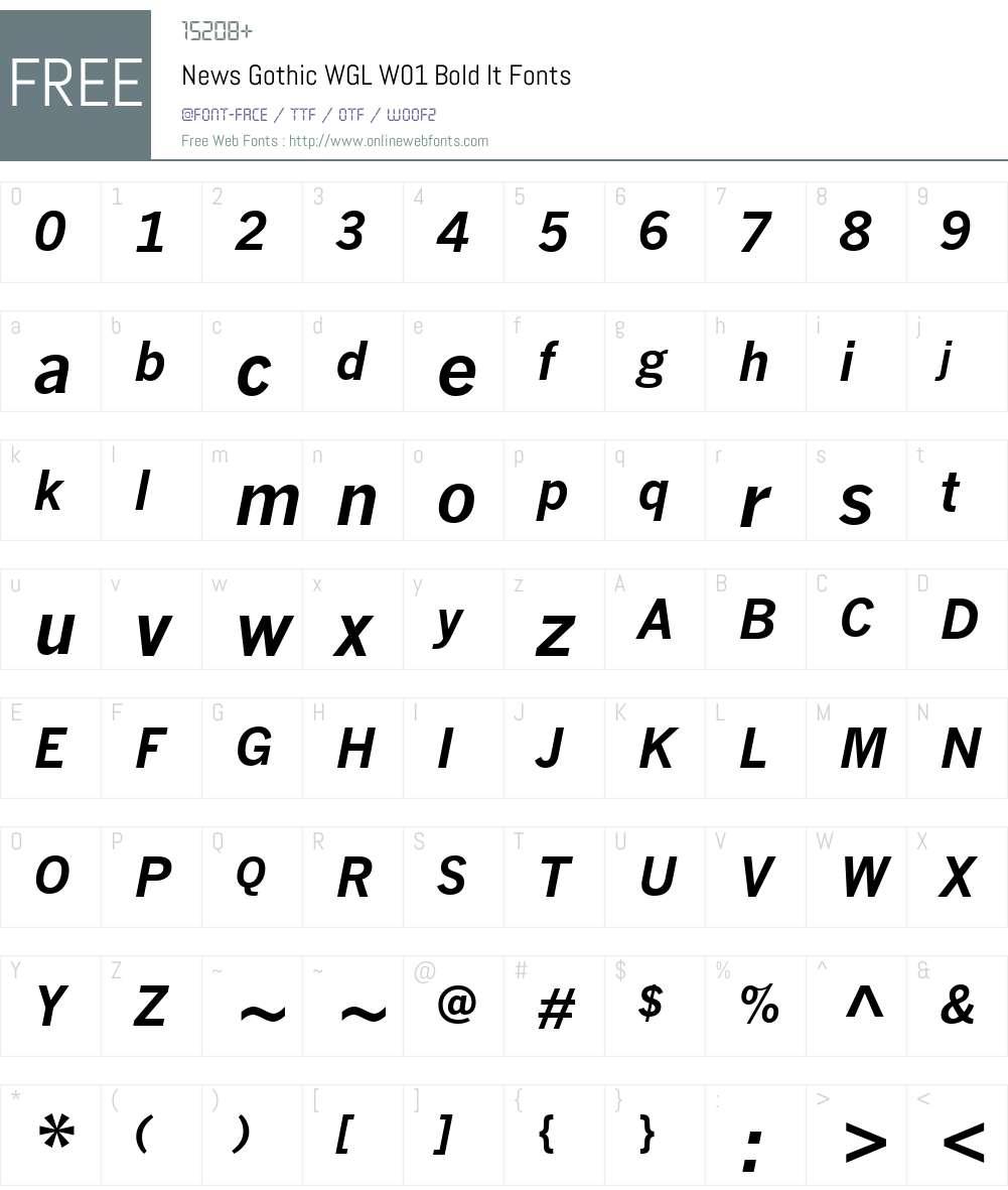 NewsGothicWGLW01-BoldItalic Font Screenshots