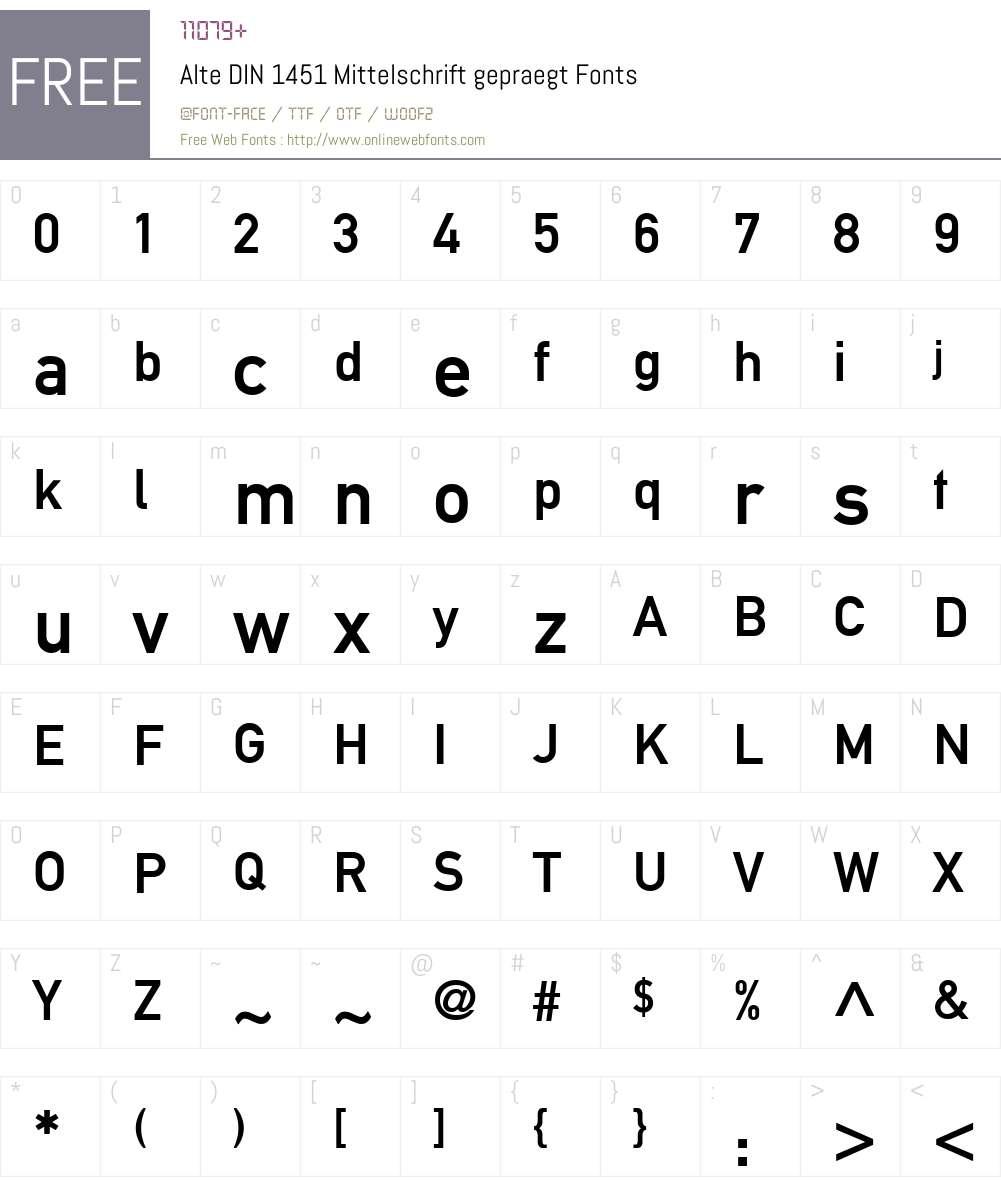 Alte DIN 1451 Mittelschrift gepraegt Font Screenshots