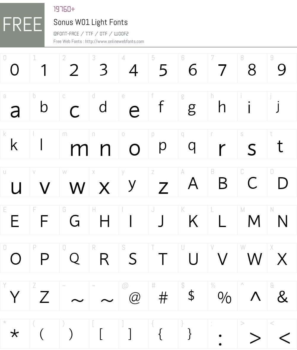 SonusW01-Light Font Screenshots