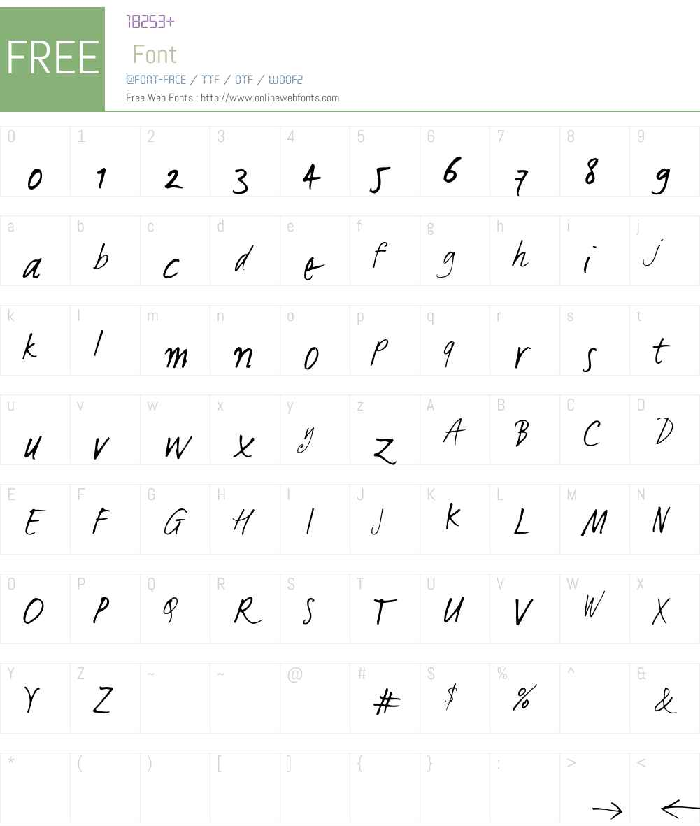LucasHandFeetLight Font Screenshots