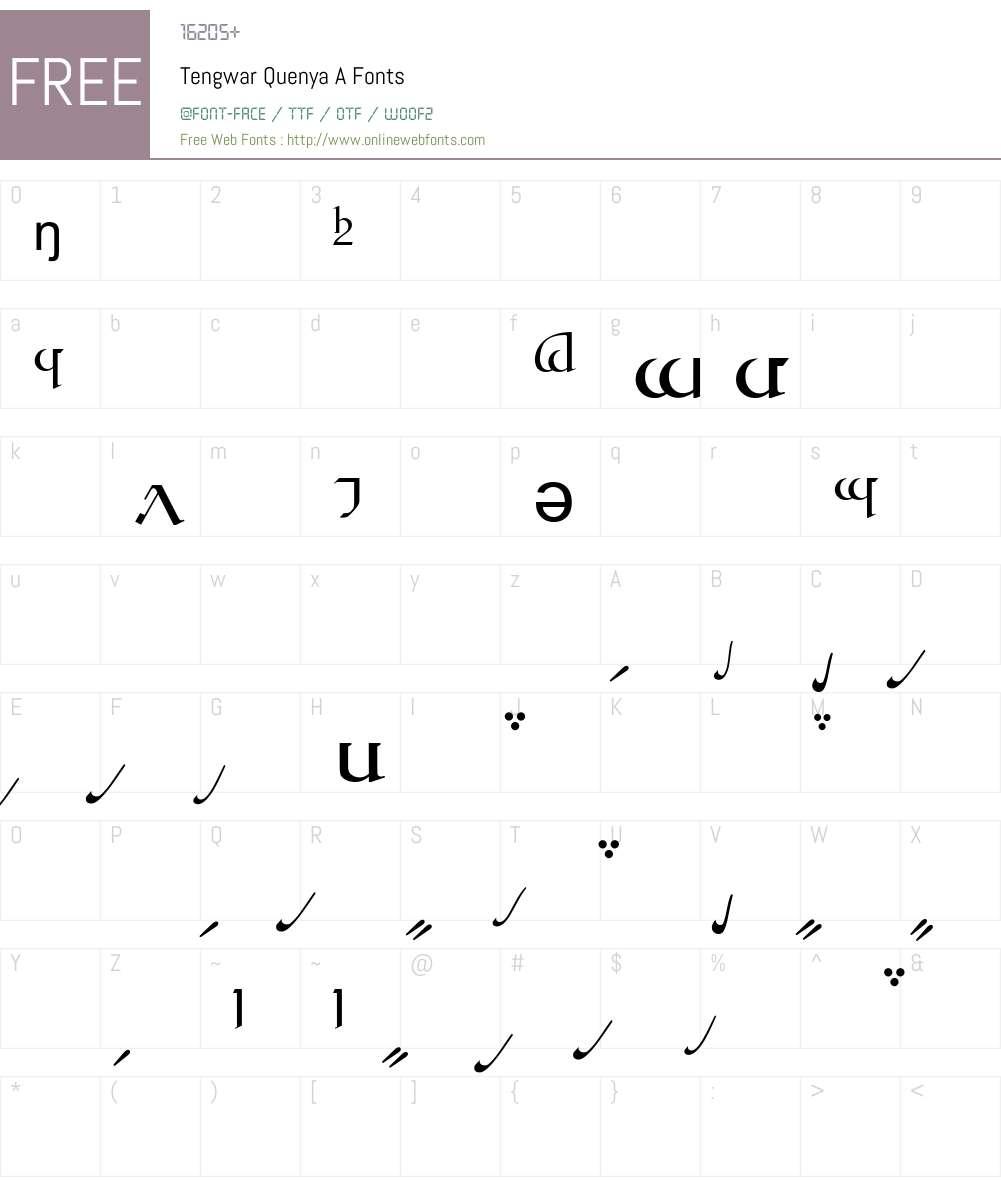 Tengwar Quenya-A Font Screenshots