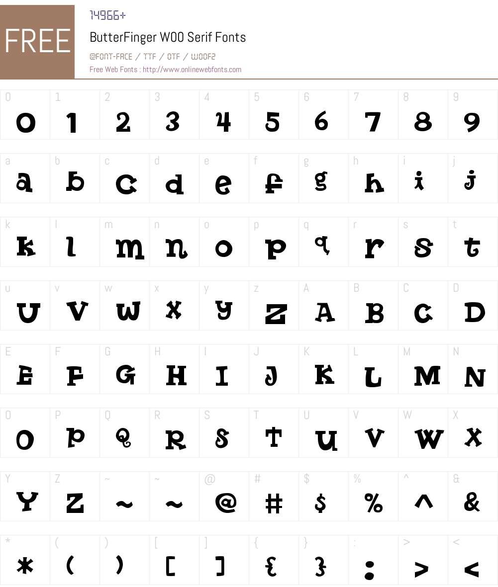 ButterFingerW00-Serif Font Screenshots