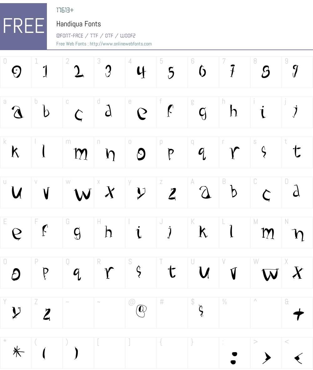 Handiqua Font Screenshots