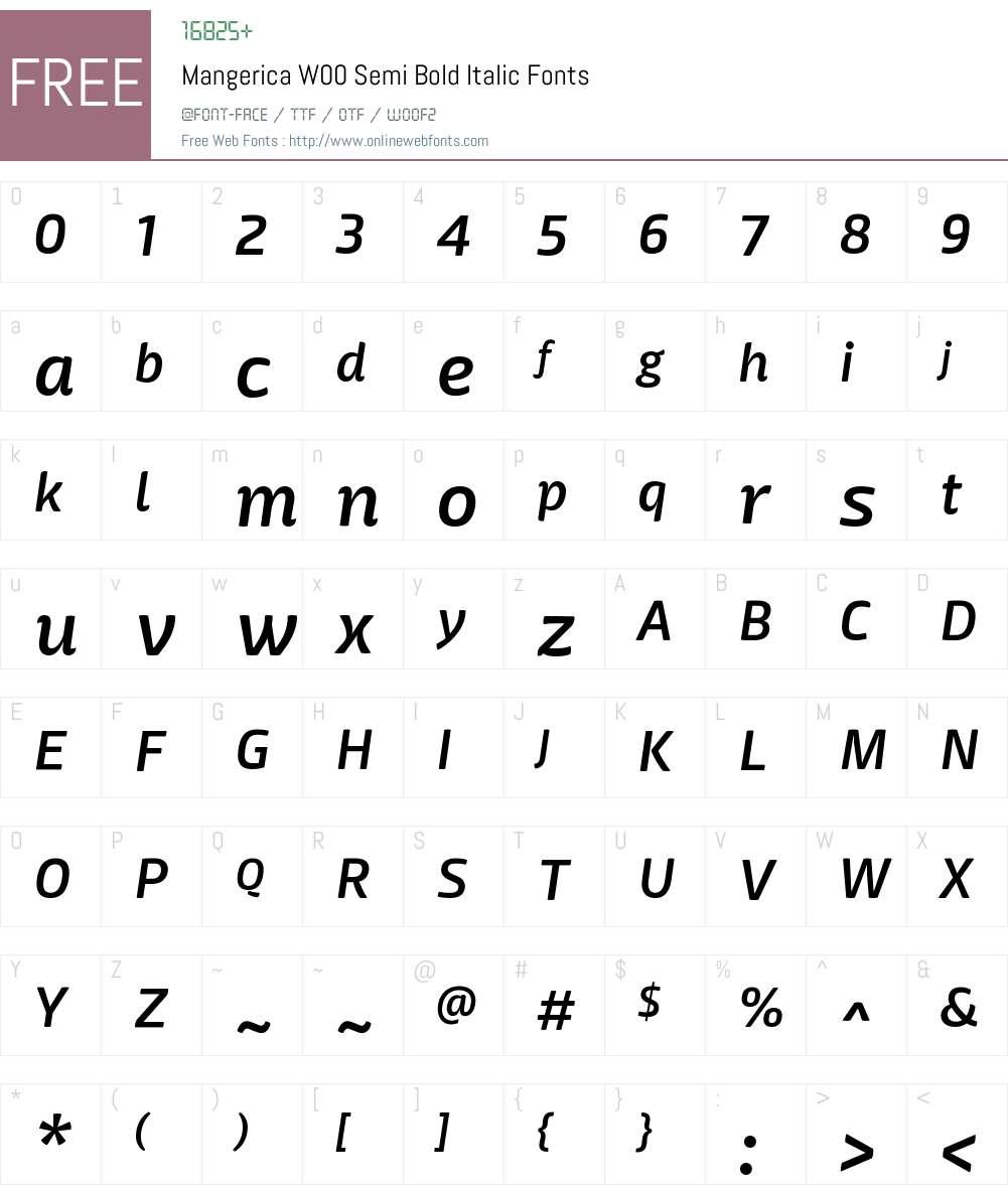 MangericaW00-SemiBoldItalic Font Screenshots