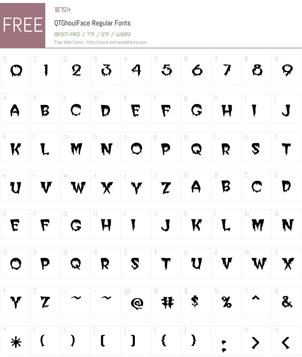 QTGhoulFace Font Screenshots