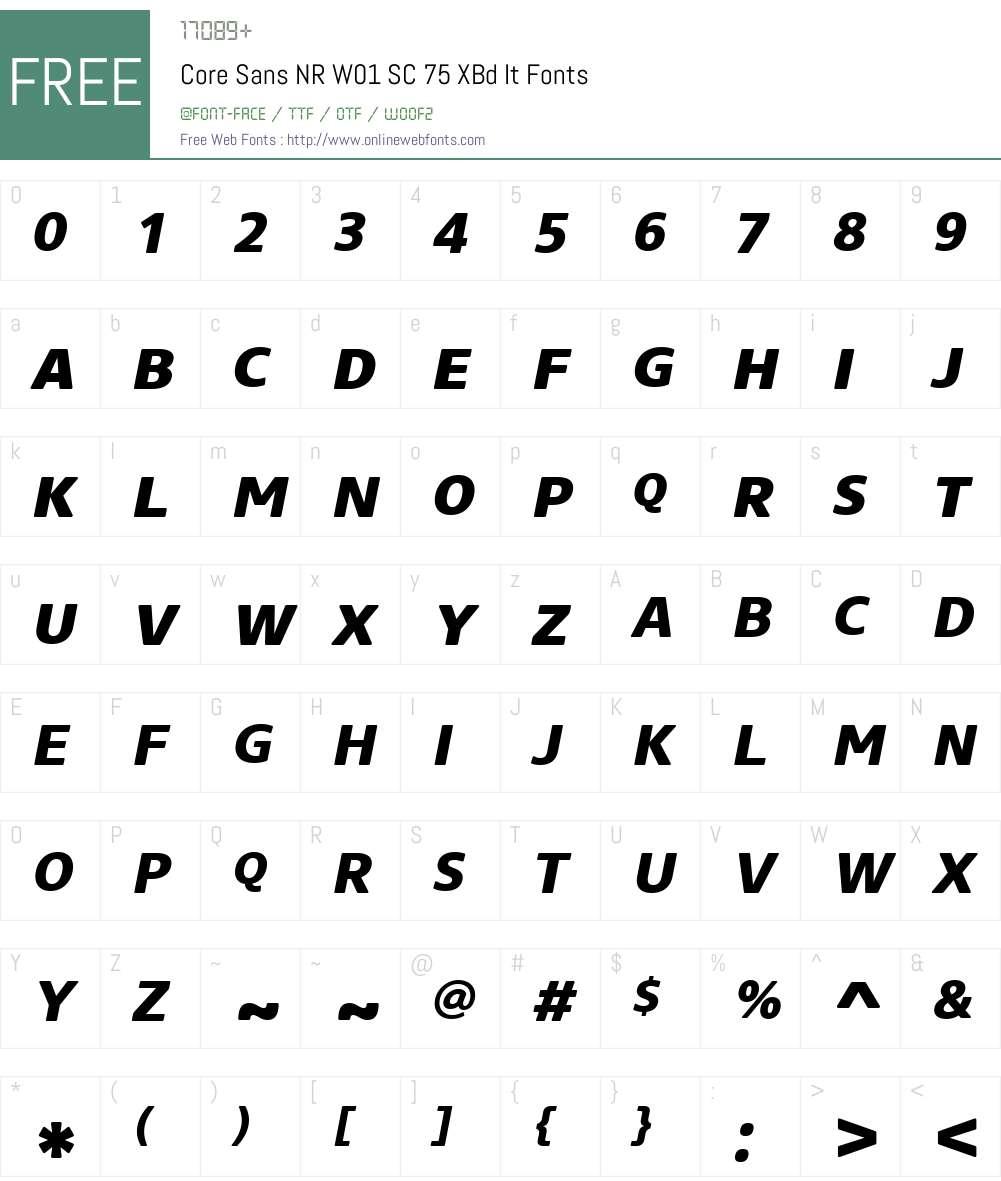 CoreSansNRW01-SC75XBdIt Font Screenshots