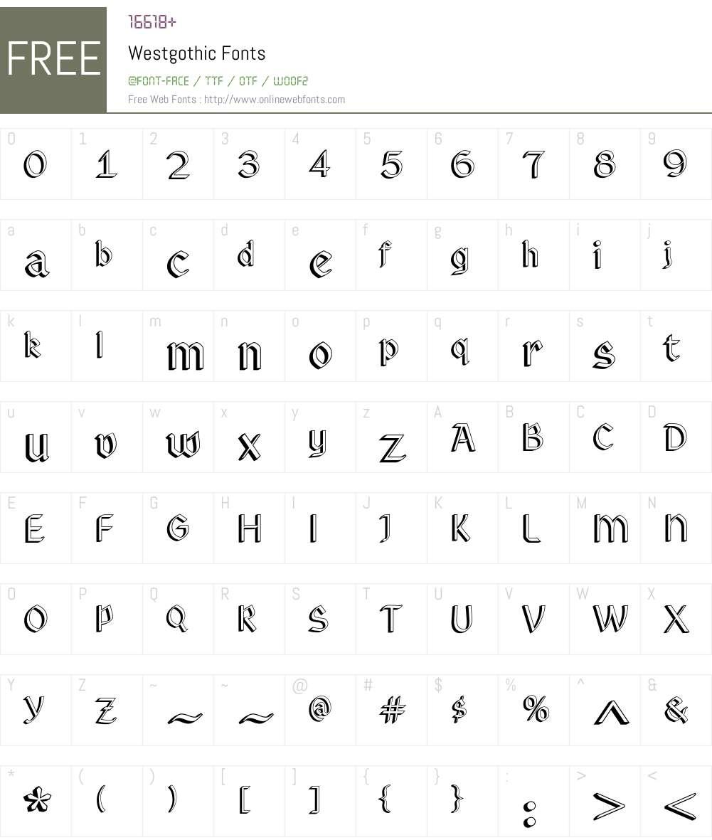 Westgothic Font Screenshots