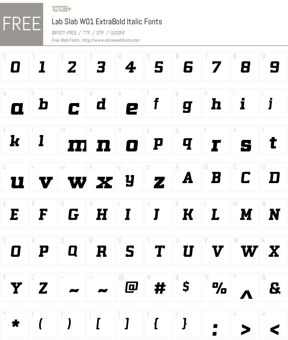 LabSlabW01-ExtraBoldItalic Font Screenshots