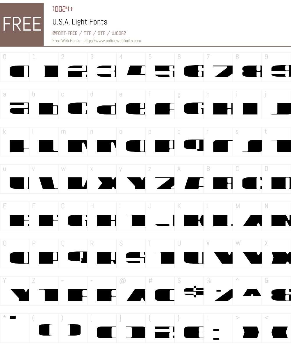 U.S.A. Light Font Screenshots