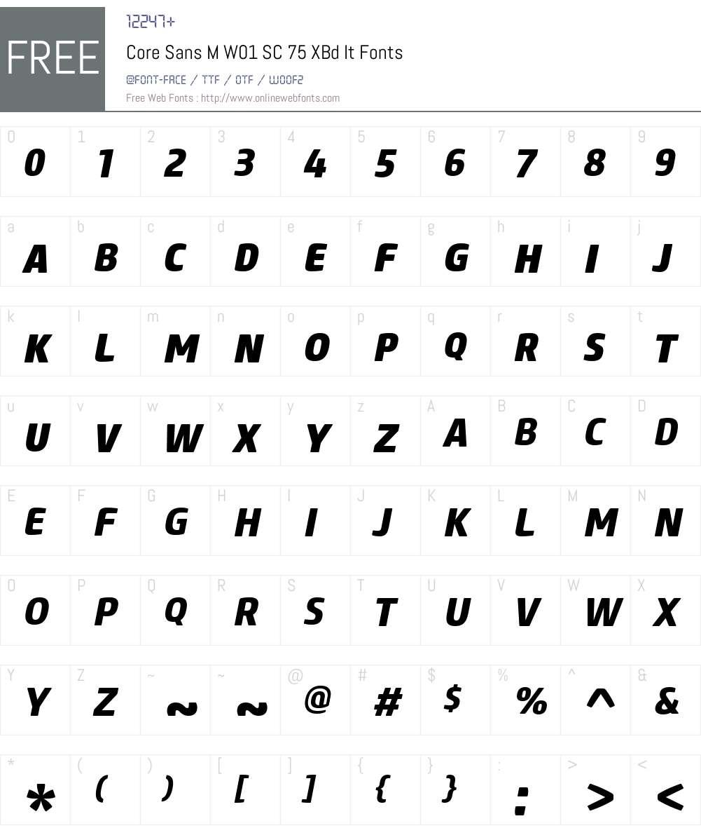 CoreSansMW01-SC75XBdIt Font Screenshots