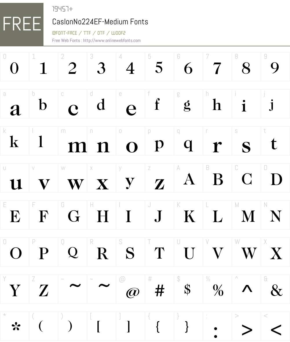 CaslonNo224EF-Medium Font Screenshots