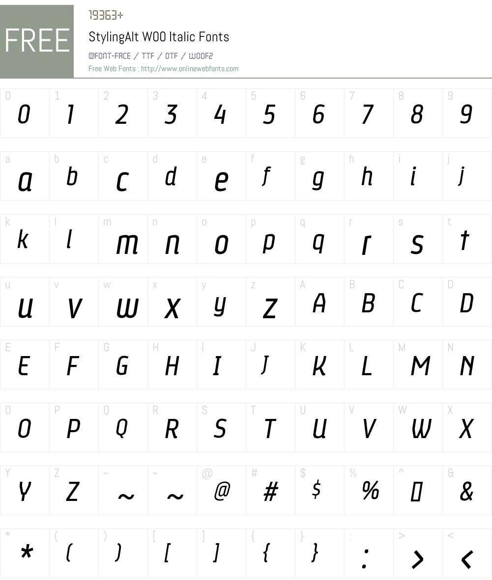 StylingAltW00-Italic Font Screenshots