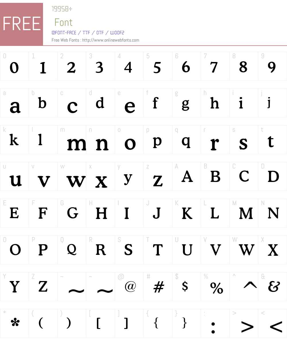Bitstream Cooper Font Screenshots