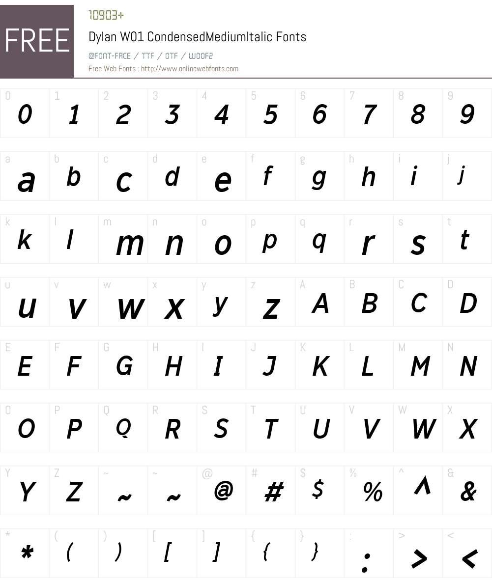 DylanW01-CondensedMediumIt Font Screenshots