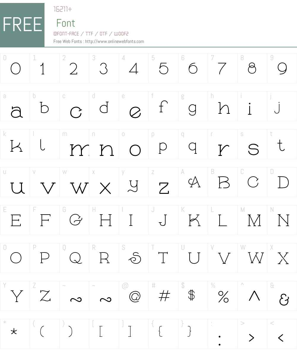 Skybird light Font Screenshots