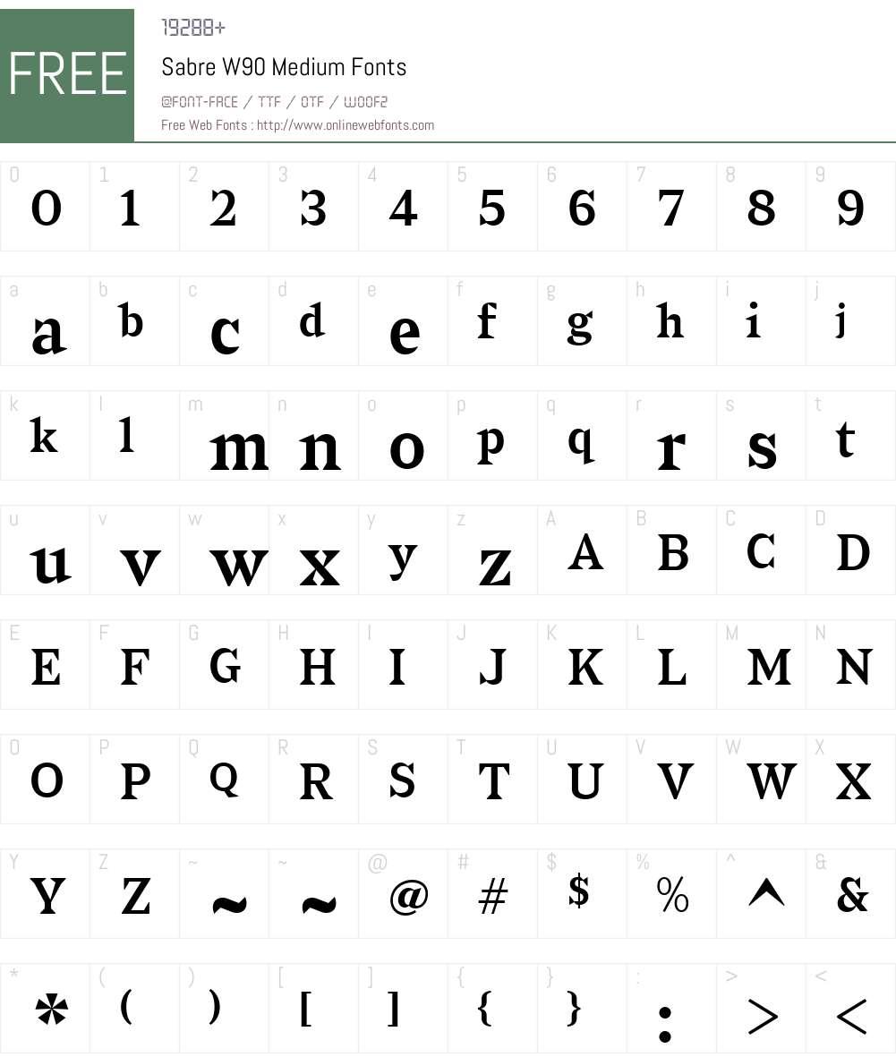 Sabre Font Screenshots