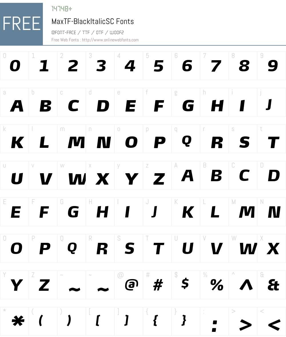 MaxTF-BlackItalicSC Font Screenshots