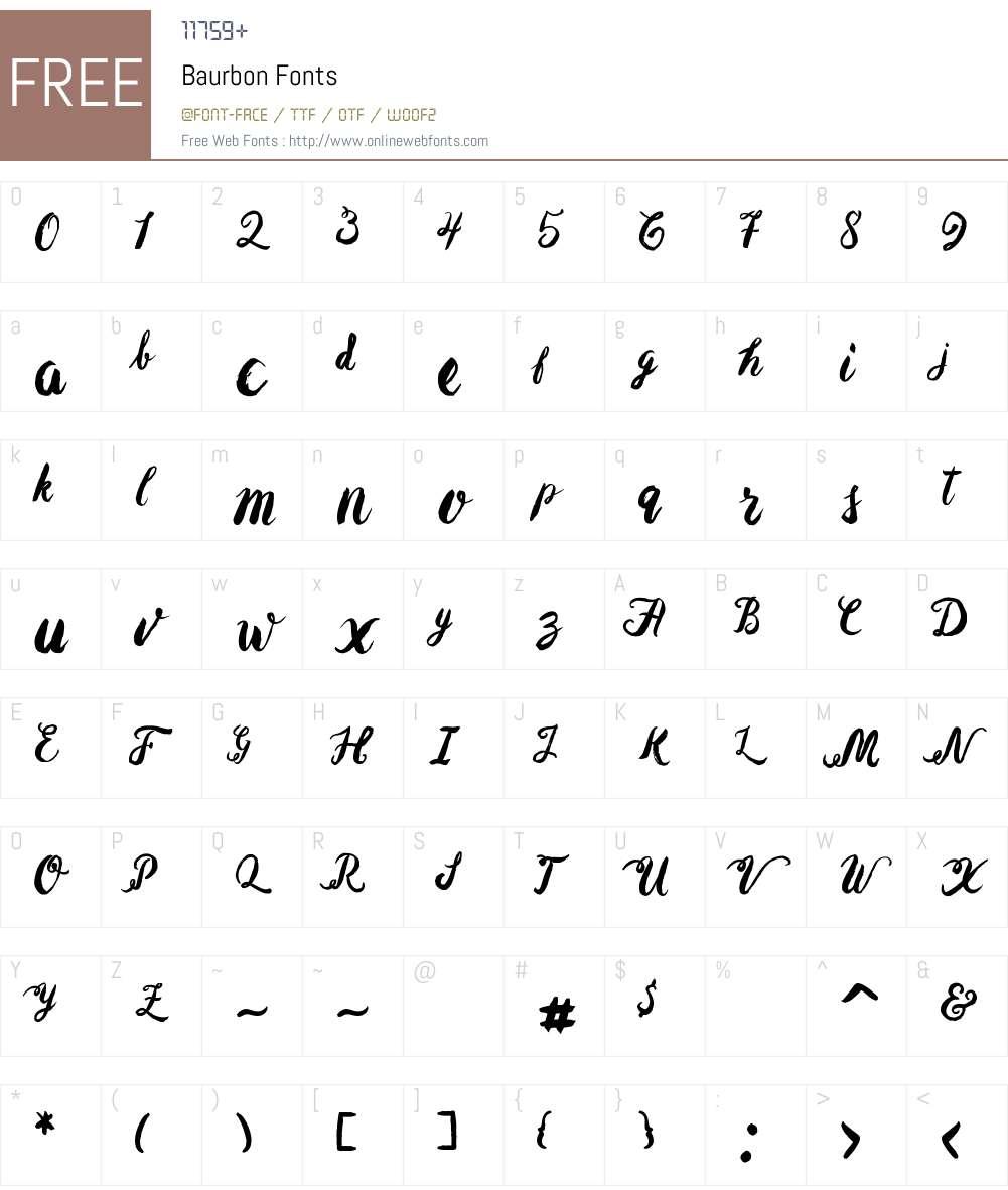 Baurbon Font Screenshots