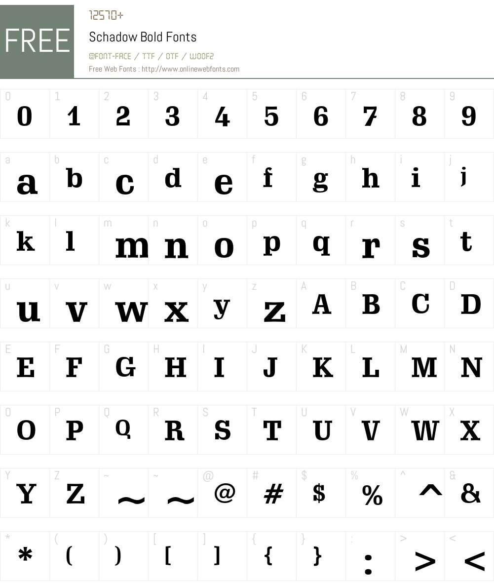 Schadow Font Screenshots